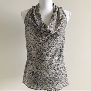Ann Taylor Sleeveless Blouse Waterfall Neckline 2